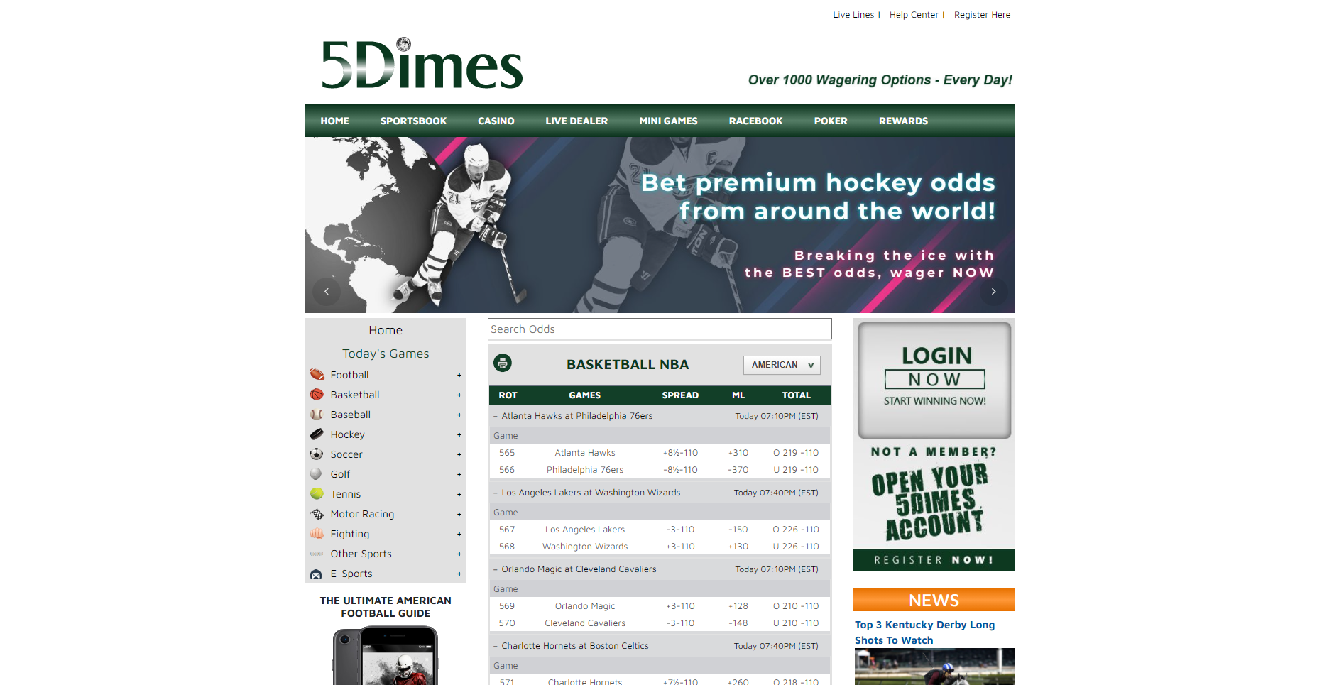 Лайв-ставки в букмекерской конторе 5Dimes