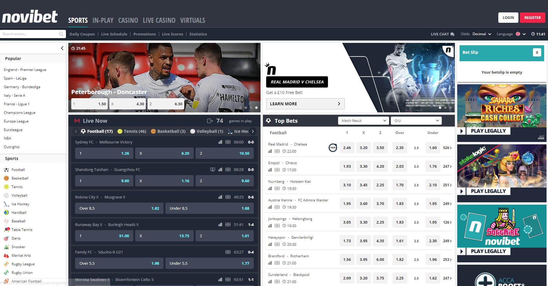 Интерфейс сайта новибет