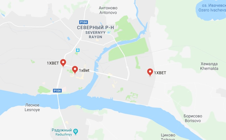 1xbet в Череповце (на карте)