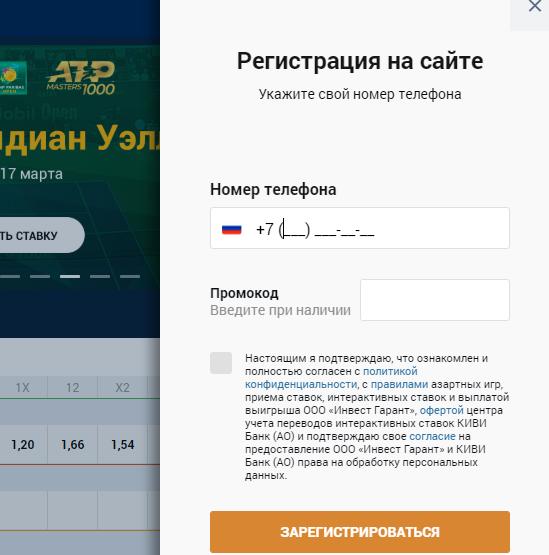 Окно регистрации в Zenit win