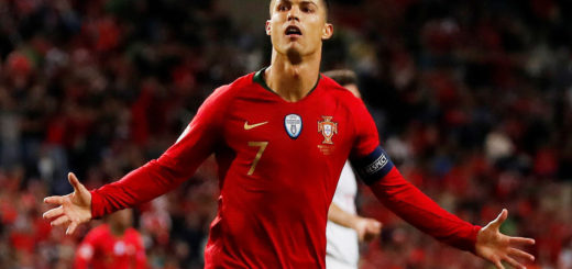 Soccer Football - UEFA Nations League Semi Final - Portugal v Switzerland - Estadio do Dragao, Porto, Portugal - June 5, 2019  Portugal's Cristiano Ronaldo celebrates scoring their third goal to complete his hat-trick   REUTERS/Susana Vera